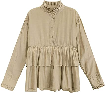 Blusa casual mujer Camisa de manga larga con cuello de loto ...