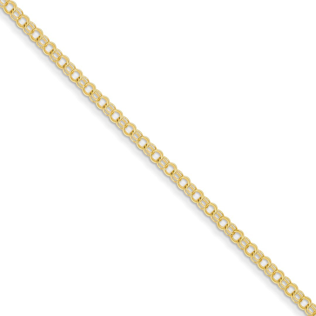 ICE CARATS 14k Yellow Gold 3mm Solid Double Link Charm Bracelet 8 Inch Fine Jewelry Gift Set For Women Heart