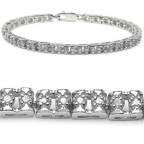 0.80 Carat Genuine White Diamond Sterling Silver Bracelet