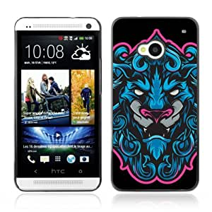 Designer Depo Hard Protection Case for HTC One M7 / Cool Neon & Blue Tiger