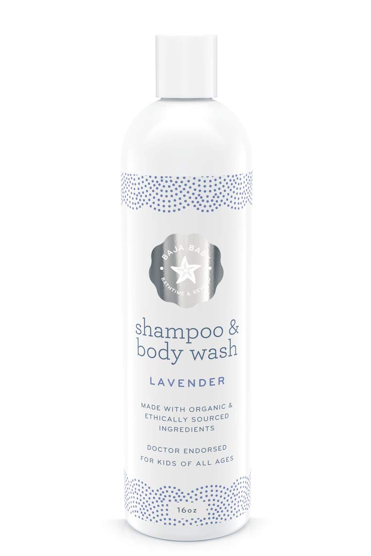 Baja Baby Organic Lavender Shampoo and Body Wash - All Natural Vegan Sulfate-Free Baby Wash Made With Essential Oils - Calming and Safe For Sensitive Skin, Eczema and Cradle Cap by Baja Baby