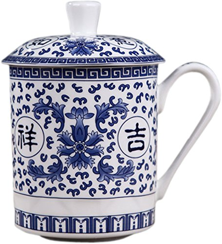 BandTie Convenient Travel Home Office Chinese Gongfu Loose Leaf Tea/Coffee Brewing System- Bone China Porcelain Tea Cup/Coffee Cup/Tea Mug/Coffee Mug Personal Teacup with Tea Cup Lid,Ji Xiang Ru Yi
