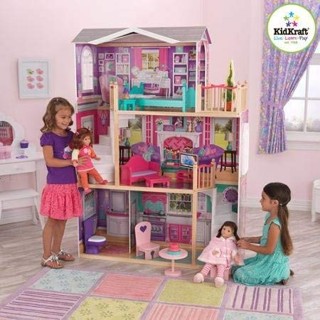 (KidKraft Elegant Wooden Doll Manor with 12 Pieces of Furniture for 18