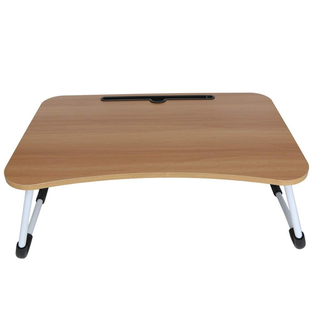 ♔MiaoC Foldable Laptop Table | Bed Desk | Breakfast Serving Bed Tray | Portable Mini Picnic Table & Ultra Lightweight | Folds in Half w' Inner Storage Space