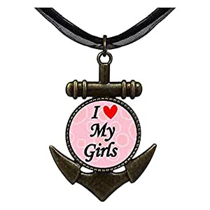 Chicforest Bronze Retro Style I Heart My Girls Anchor Pendant