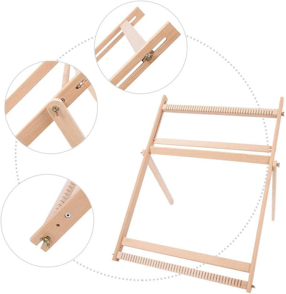 M/áquina de tejer marco de tejido ajustable Bufanda de manta de madera maciza M/áquina de coser en telar de bricolaje para pa/ñuelos portavasos bolsas con cord/ón 70 X 50 X 3 cm