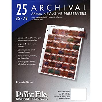 Archival Storage Sheets 35-7B25 for 35mm Film Negatives 7 Strips 25 Pack <span at amazon