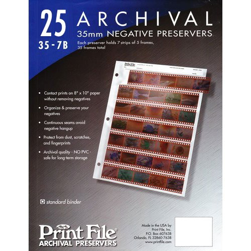 Archival Storage Sheets 35-7B25 for 35mm Film Negatives 7 Strips 25 Pack