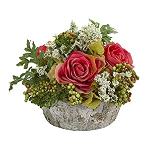 Nearly Natural 1634-DP Roses Bouquet Artificial Oak Vase Silk Arrangements Dark Pink 104