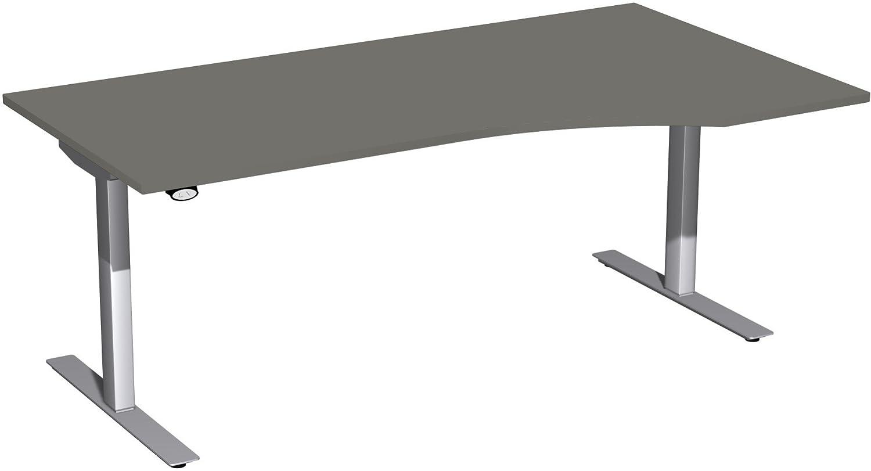 Geramöbel Elektro-Hubtisch rechts höhenverstellbar, 1800x1000x680-1160, Graphit/Silber