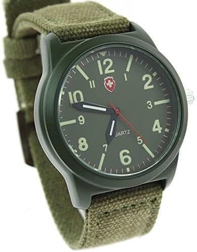 itemstoday Boy's and Girl's Quartz Swiss Army Canvas Wrist Watch Luminous Dial