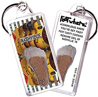 "product image for Nashville ""FootWhere"" Keychain (NV104 - Guitars). Authentic Destination Souvenir acknowledging Where You've Set Foot. Genuine Soil of Featured Location encased Inside Foot Cavity. Made in USA"