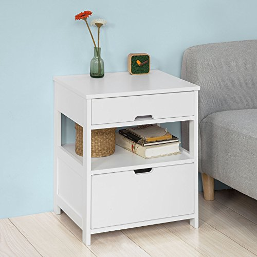 (Haotian FRG258-W, Beside Table with 1 Drawers, Night Table Stand Lamp Table End Table Side Table, White)
