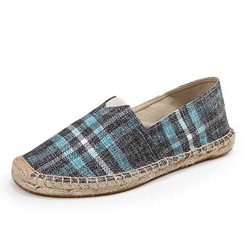 (fereshte Women's Men's Casual Espadrilles Loafers Breathable Flats Shoes Plaid Navy Green Label Size 38-240mm - US 7 Women/6 Men)