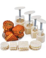 Itian Hand-Pressure Moon Cake Mold Mooncake Decoration Mold for Mid-Autumn Festival with 12 Pcs Mode Pattern for 4 Sets (White)