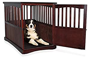 """Wooden Pet Crate Table For Dog's Cat's Espresso Enclosure Cage 36.5"""" x 24"""" wide x 29.25"""" Locking Kennel Enclosure"""