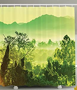 Tropical Jungle Mexico Green Exotic Nature Sepia Photography Art Decorations Modern Decor Pacific Palm Plants Polyester Fabric Shower Curtain