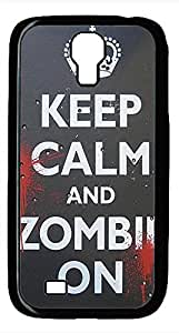 Samsung Galaxy S4 I9500 Black Hard Case - Keep Calm Zombie On Galaxy S4 Cases