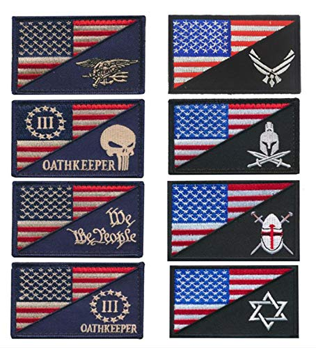 Antrix 8 Pieces Tactical US Flag/Navy Seals Flag Patch US Flag/Star War Patch American Flag/Three Percenter Punisher Oath Keeper Patch US Flag/Sparta Helmet Patch US Flag/Viking Logo Patch Set]()