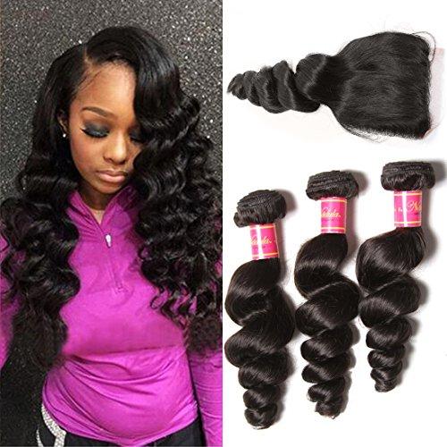 Nadula Brazilian Loose Wave 3 Bundles With Closure 8A 100% Unprocessed Brazilian Remy Virgin Human Hair Bundles Weave Natural Color (16 with 18 20 22)