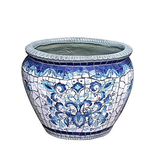 WYlucky Vintage Artistic Color Painting Ceramics Extra Large Flower Pot Outdoor Garden Patio Landscape Flower Pot…