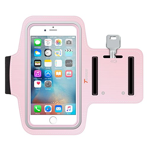 (iPhone 6S Armband, Trianium ArmTrek Sports Exercise Armband for Apple iPhone 6 | iPhone 6S Case Running Pouch Touch Compatible Key Holder [Pink] Good for Hiking,Biking,Walking)