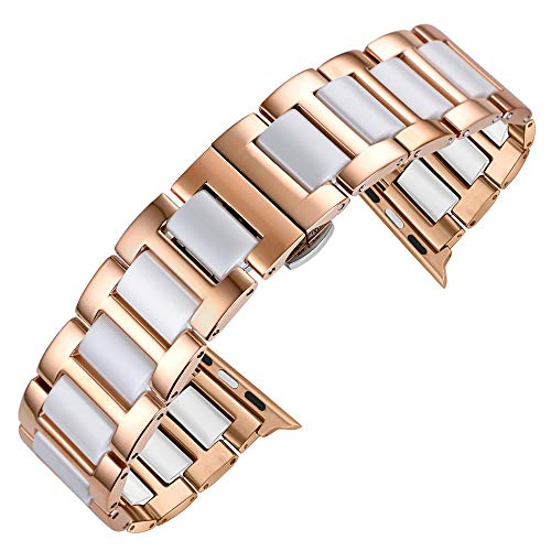 KWLET Luxury Ceramic Bracelet Compatible with Apple Watch Band 38mm Rose Gold Wristbands Stainless Steel Replacement with Metal Clasp Compatible with iWatch Stainless Steel Band Series 4 3 2 1 ()