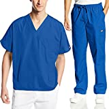 Cherokee Mens Workwear Scrub Set Medical/Dentist Uniform V-Neck Top & Cargo Pant (Royal, X Large)