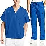 Cherokee Mens Workwear Scrub Set Medical/Dentist Uniform V-Neck Top & Cargo Pant (Royal, Large)