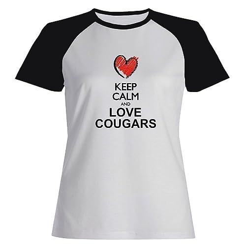 Idakoos Keep calm and love Cougars Maglietta Raglan Donna