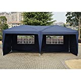 Outsunny 10' x 20' Easy Pop Up Canopy Party Tent with 4 Removable Side Walls - Navy Blue