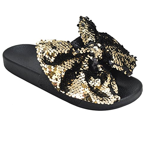 Bow Tie Open Toe (Trends SNJ Women's New Fashion Bow Tie Spangle Glitter Open Toe Flip Flop Sequin Low Slide Sandals)