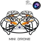 RC Mini Quadcopter Mini Drone with Camera Live Video, 2.4GHz 6-Axis Gyro Wifi FPV Quad UFO Drone with Altitude Hold, Summer Gift, FPV Real Time/MR Game/Throw out to fly (Orange),DIYI Model D26CI