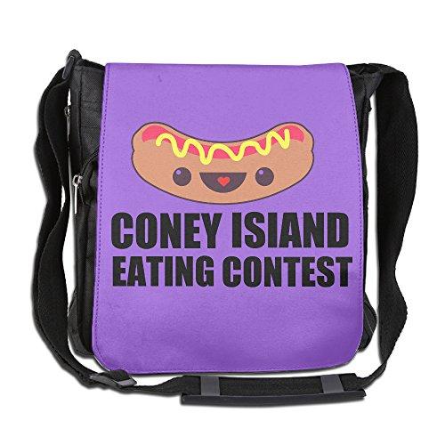 Memoy Unisex Leisure Messenger Bag Cute Hot-dog Eating Contest Work Travel Bag