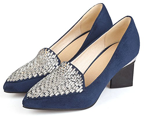 Zapatilla Ante de Mujer Baja HiTime Azul wzaFxw