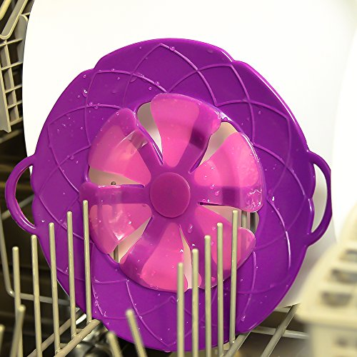 Boil Over Safeguard / Spill Stopper - Best For Safe Cooking, Microwave Lid and Steaming Vegetables - Purple Silicone - Eco-friendly - Makes A Great Gift