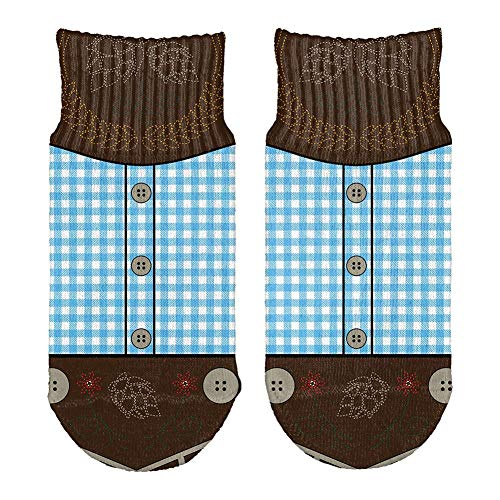 Oktoberfest Lederhosen Costume German Blue Plaid Toddler Ankle Socks White Standard One Size