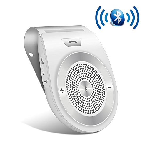 Bluetooth Car Speakerphone Kits,Bluetooth 4.1 Hands-Free Motion AUTO-ON Car Kit Stereo Music Speaker Wireless Sun Visor Audio Receiver Player Adapter Connect 2 Phones At Same Time
