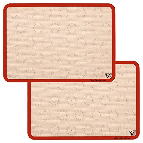 Silicone Macaron Baking Mat - Set of 2 Half Sheet (Thick & Large 11 5/8' x 16 1/2') - Non Stick Silicon Liner for Bake Pans & Rolling - Macaroon/Pastry/Cookie Making - Professional Grade Nonstick