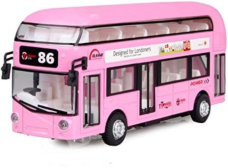 LZ おもちゃ 子供のシングルとダブルレイヤーのバスおもちゃの車のモデルは、電源合金に戻る 子供のおもちゃ (色 : ピンク ぴんく, サイズ さいず : A)