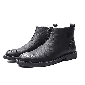 ブーツ メンズ ブラック メンズブーツ サイドジップブーツ ショートブーツ 24.0cm カジュアル ビジネスシューズ サイドジップ フォーマル メンズブーツ 靴 メンズシューズ 革靴 ビジネス 通勤 結婚式 ウィングチップ 黒 紳士靴 春 秋 トレンド