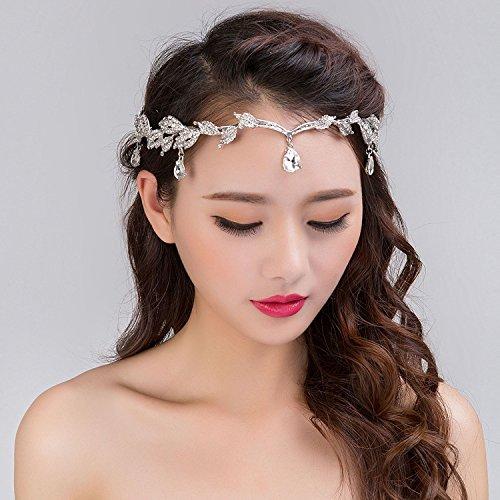 Funnmart Fashion Rhinestone Silver Women Wedding Bridal Forehead Head Chain Headdress Crystal Pendant Bride Tiara Hair Jewelry Accessory -
