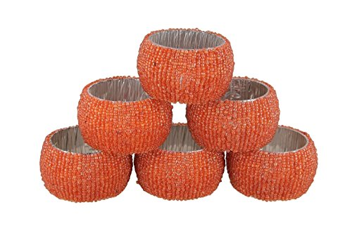 Shalinindia Handmade Beaded Napkin Rings Set With 6 Orange Glass Beaded Napkin Holders – 1.5 Inch in Size