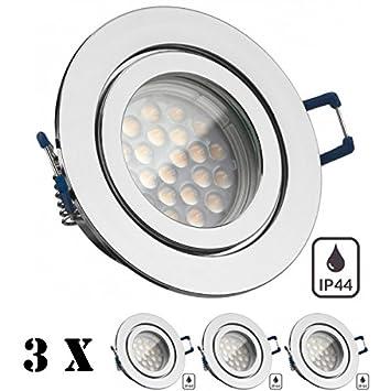 3er IP44 LED Einbaustrahler Set Chrom mit LED GU10 Markenstrahler ...