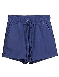 Les umes Women's Cotton Linen Beach Casual Running Yoga Mini Boardshorts Shorts