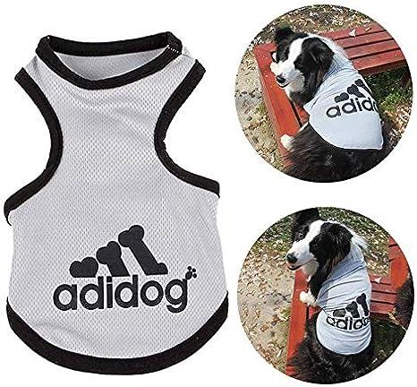 Haibuy Pet Adidog Perro Camiseta algod/ón Chaleco Verano Malla Chaleco Transpirable peque/ño Gris Grande Ropa para Perros S-8XL, Mediano