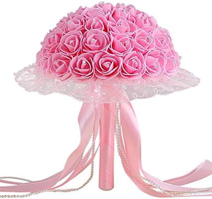 JYJM - Ramo de boda con lazo de cristal, rosas artificiales, flores de seda para boda o novia, flores artificiales, D1, Size : 24X30cm