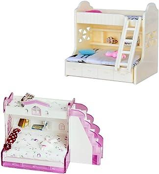 Cuticate Kit Di Letti A Castello Per Bambole Di 2 Set 1 12 In Scala Per Accessori Camera Da Letto Per Bambini Amazon It Giochi E Giocattoli