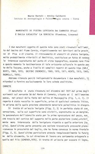 Manufatti di pietra levigata da Canneto (Pisa) e dalla localita' La Sdriscia (Piombino, Livorno) . (Mario Bartoli)