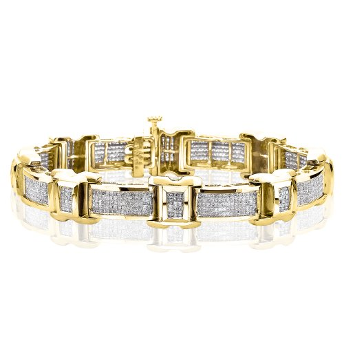 - KATARINA 14K Yellow Gold 4 ct. Princess Cut Diamond Invisible Set Bracelet